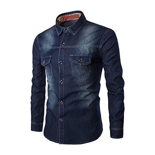 KXZD Men's Retro Two Pocket Long Sleeve Shirt Men's Stretch Denim Shirt Stretch Casual Shirt Mens Denim Shirts Slim Fit Button Down Cotton Top Men's Long Sleeve Plain Casual Shirt Oxford Shirt Black