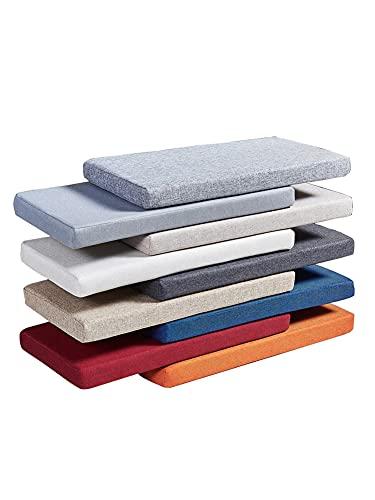 Cojín largo de asiento de sofá con cremallera, alfombrilla antideslizante para banco de 2 plazas y 3 plazas, cojín lavable para silla de comedor, colchón de repuesto de muebles de espuma suave