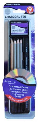 Daler Rowney - 649100120 - Kit De Loisirs Créatifs - Ensemble 9 Pièces De Crayons De Fusain
