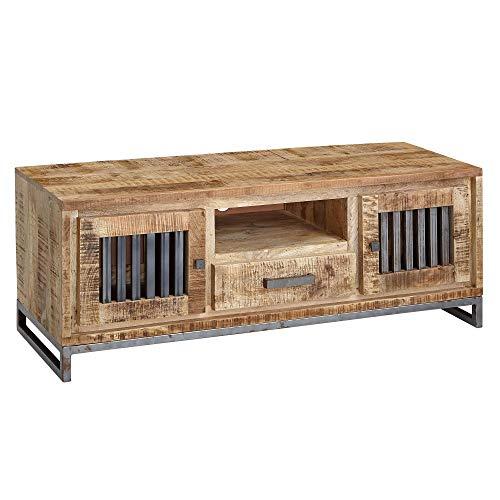 FineBuy HiFi Lowboard 133 x 50 x 45 cm Mango Massivholz/Metall Vintage TV Kommode | Fernsehschrank mit 2 Türen | Fernsehkommode mit Schublade | TV-Board Wohnzimmer