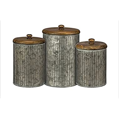 Rustic Distressed Metal Set of 3 Tin Canisters with Wood Lids