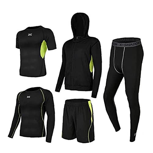 BRAVOSOLEIL Männer Gym Kleidung Fitness Compression T-Shirt Mit Leggings Shorts Hoodies Lauf Kit Anzug Für Sport Grün S 5pcs
