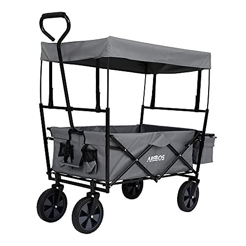 Arebos Bollerwagen faltbar mit Dach | Transportwagen | 2X Netztaschen und 1x Außentasche | faltbar | Vollgummireifen (Grau)