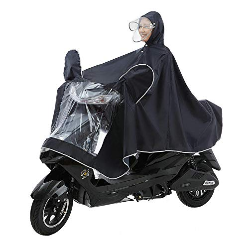 MSYL Raincoat Double Hat Cornice Raincoat Bicycle Motorcycle Rain Belt Electric Car Raincoat Black