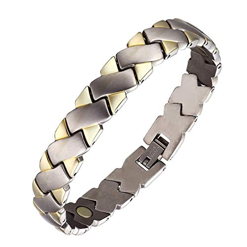 Men's Magnetic Recovery Health Bracelets for Arthritis Pain Relief Sleek Titanium Magnetic Bracelet Personality X Plating Bracelet