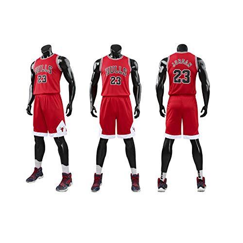 MULANKA Jordan Nr. 23 Trikot Erwachsene NBA Basketball Team Uniformen Bullen Rundhals Sportswear Strumpfhose schwarz rot weiß