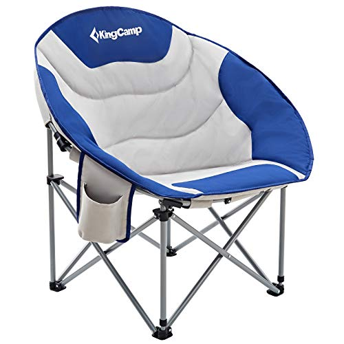 KingCamp Moon Saucer Leisure Heavy Duty Steel Camping Chair Padded Seat (Blue with Cup Holder and Cooler Bag), One Size
