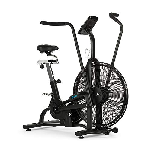 Capital Sports Strike Bike - Heimtrainer, Cardiotrainer, Ventilationswiderstand, integrierter Trainingscomputer, Bluetooth, höhen- und tiefenverstellbar, Tablet-Halter, max.150 kg, schwarz
