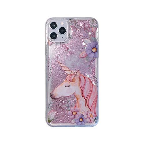 Funda para iPhone Xs Max, 3D Glitter Sand fluyendo líquido Bling Sparkle lindo transparente suave TPU Bumper Gel Silicona Funda protectora a prueba de golpes para Niñas Mujeres Caballo