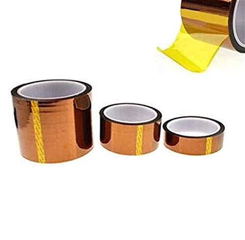 Tape Adhesive Most Advanced Heat Resistant Polyimide Film Tape Adhesive Most Advanced 3 Rolls 6/20/50mm High Temperature Tape for Heat Transfer Electronic Kapton Tape for Circuit Board,3D Printer,Sold