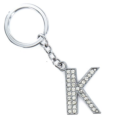 OSYARD Schlüsselanhänger,Keychain,Keyring,Schlüsselring,A-Z Initialen Brief Schlüsselbund Glänzend Silber Schlüssel Ring Taschen Rucksäcke Anhänger Zubehör