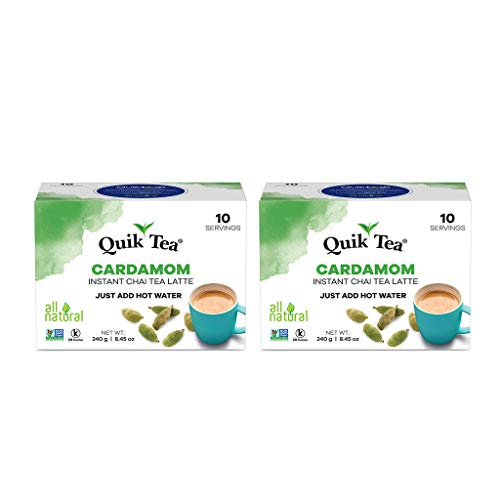 QuikTea Cardamom Chai Tea Latte - 20 Count (2 Boxes of 10 Each) - All Natural & Preservative Free Authentic Instant Chai