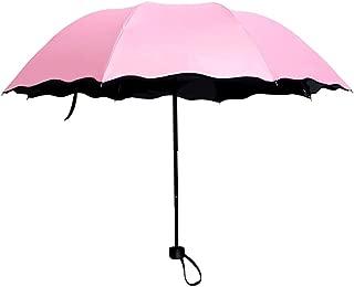 SRY-Umberllas Beach Umbrella for Women Sun Umbrellas for Women for Rain Wind with Met Water Begin Bloom (Color : Pink, Size : Free)