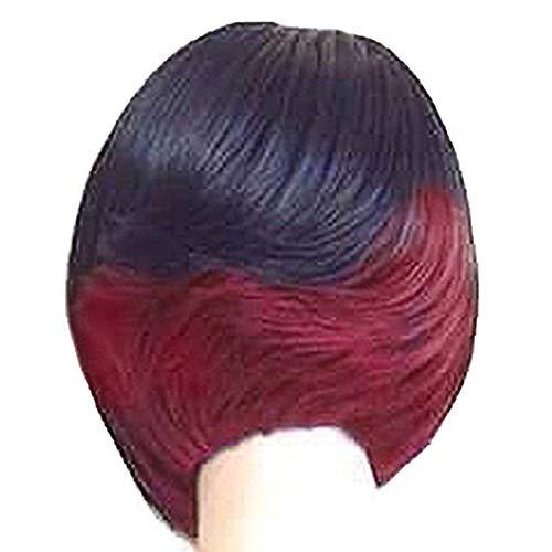 Fleurapance Perruques Femme Naturelles Courte Bob Double Couleur Blondes Cheveux Synthétiques à frange Résistant à La Chaleur Similaire Aux Cheveux Réels Perruque de Fetes (Noir+Rouge Vineux)
