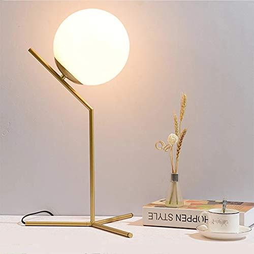 E27 Luz de Mesa LED Lámpara de Escritorio nórdica, luz de Cristal de Oro LED para Dormitorio/Habitación de Lectura/Sala de Trabajo