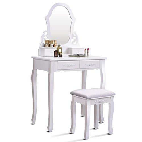 COSTWAY Schminktisch mit Hocker und Spiegel, Frisiertisch Set, Frisierkommode weiß, Kosmetiktisch mit 4 Schubladen, Schminkkommode und Schminkhocker aus Holz