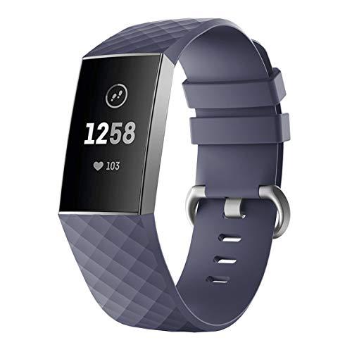 RALC Uhrenarmband für Fitbit Charge 3, Silikon, Diamant-Armband H11