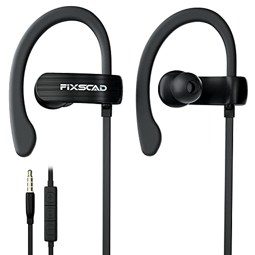 FIXSCAD Y171 Sports Earbuds Wired with Microphone, Soft Wrap Around Earphones with Over Ear Hook, in Ear Running Headphones for Exercise Compatible with iPhone, Samsung