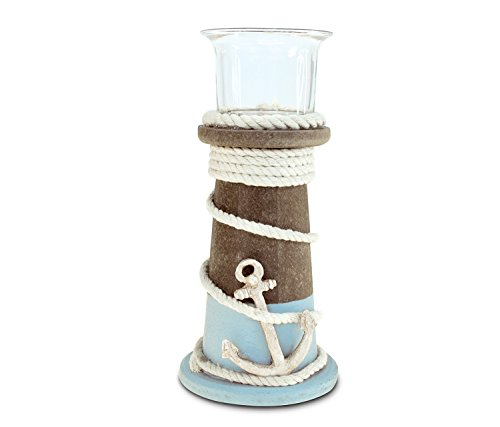 Puzzled Wooden Evian Lighthouse Candle Holder, Intricate & Meticulous Detailing Wood Art Handcrafted Decorative Tabletop Centerpiece Accent Accessory Coastal Nautical Themed Home Décor - 6.75 Inch
