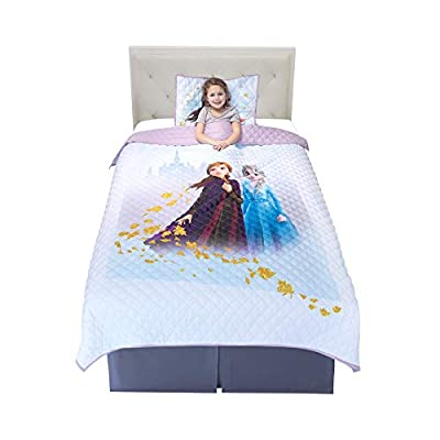 "Franco NS2188 Kids Bedding Super Soft Microfiber Pillow Sham and Quilt Set, Twin/Full Size 72"" x 86"", Disney Frozen 2"