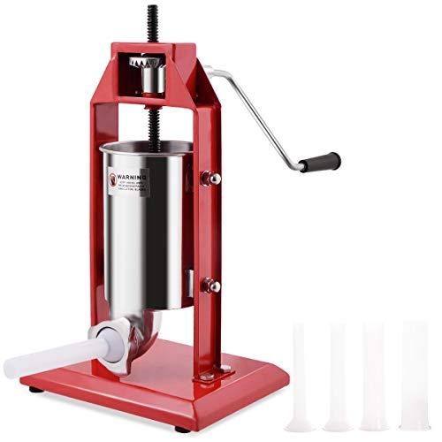 DREAMADE Wurstfüller aus Edelstahl mit Fassungsvermögen von 3 Litern, Manuell Wurstfüllmaschine, Wurstpresse mit 4 Verschiedene Füllrohren, Rot
