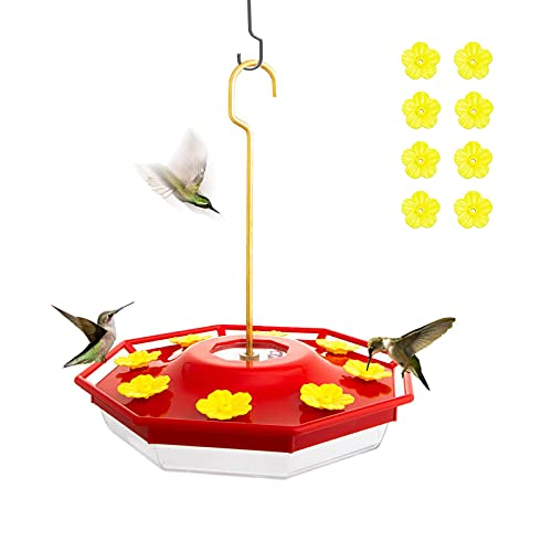 Hummingbird Feeder,16 oz Fluid Hummingbird Feeder for Outdoor, Easy to Clean and Refill, Feeder for Birds Lovers,with 8 Feeder Ports
