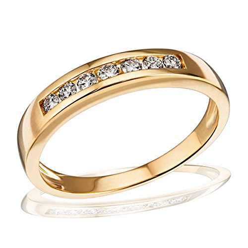 goldmaid Damen-Ring Gelb Gold 585 Memoire 7 Diamanten 0,25 Karat, Grösse 58 Me R2525GG58 Brillanten Diamantring Verlobung