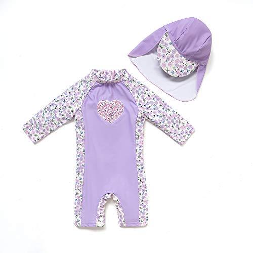 Baby Mädchen Ein stück 3/4 der ärmellänge UV-Schutz 50+ Badeanzug MIT Einem Reißverschluss(Lila-Liebe,12-18M)