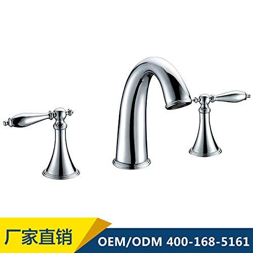 Maifeini - Grifo doble triple para lavabo (cobre, agua fría y caliente, doble elevación, continental)