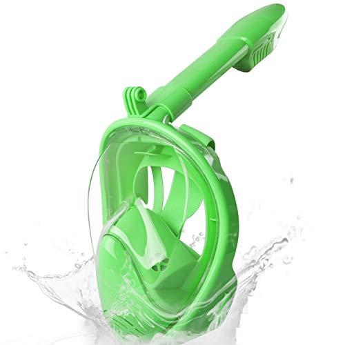 WANXJM Espejo Facial de Buceo en seco Completo para niños, Espejo Facial antivaho de Alta definición para esnórquel, Equipo de natación de Buceo de Silicona,Verde