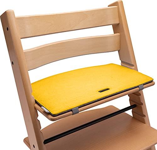 Tripp Trapp Sitzkissen: Sitzauflage für den Kinder Hochstuhl mit Kult-Faktor! Mit diesem Hochstuhl Sitzkissen aus hochwertigem Filz wird dein TrippTrapp Hochstuhl noch stylischer! (gelb/grau)