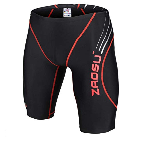 ZAOSU Wettkampf-Schwimmhose Z-Black - Badehose für Jungen und Herren, Farbe:schwarz/rot, Größe:5