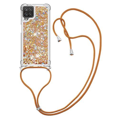HülleLover Handykette Handyhülle für Samsung A12 5G, Glitzer Flüssig Bewegende Treibsand Transparent Silikon Hülle mit Kordel zum Umhängen Necklace Hülle Band für Samsung Galaxy A12 5G, Golden