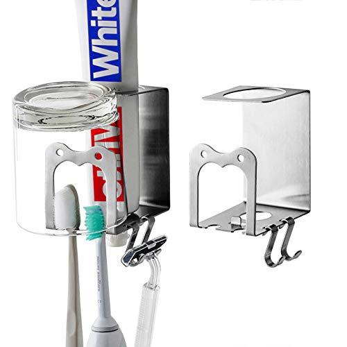 Singgreat Zahnbürstenhalter 304 Edelstahl selbstklebend Wandmontage 4 in 1 selbstklebender Halter für elektrische Zahnbürste Zahnpasta Becher Rasierer (2 Stück)