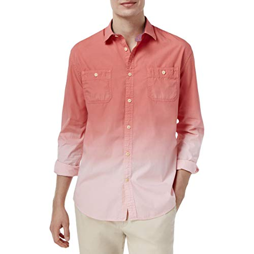 Tommy Hilfiger Men's Burke Fade Cotton Shirt (Large, Porcelain Rose)