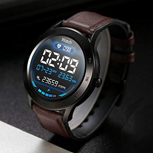 YQZS Smartwatch IP68 wasserdichter runder Bildschirm EKG-Erkennung Multi - Dial Smartwatch Herrenuhr - Dark Brown