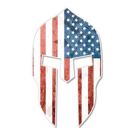 Spartan Helmet American Flag Grunge - 12' Vinyl Sticker Waterproof Decal