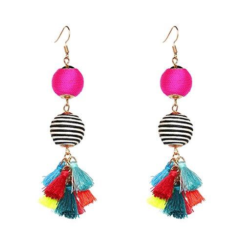 Thread Ball Dangle Earrings Bohemian Statement Thread Tassel Earrings for Women Dangling