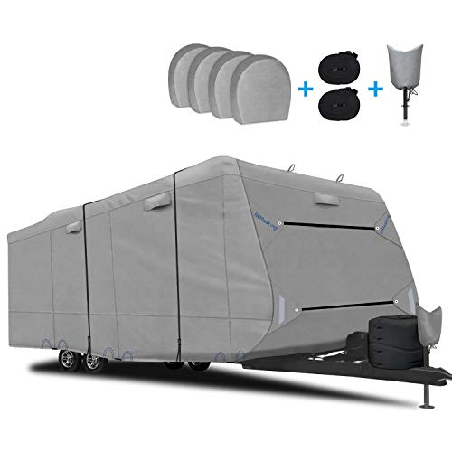 RVMasking Upgraded Waterproof & Windproof Travel Trailer RV Cover Camper Cover 22'1 - 24' - 6 Layers Top Prevent Top Tearing Caused by Sun Exposure with 4 Tire Covers Tongue Jack Cover