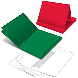 Holiday Christmas Greeting Cards - 25 Red & 25 Green Blank Greeting Cards with 50 White Envelopes - Card Size 5x7 When Folded - Envelopes Size A7