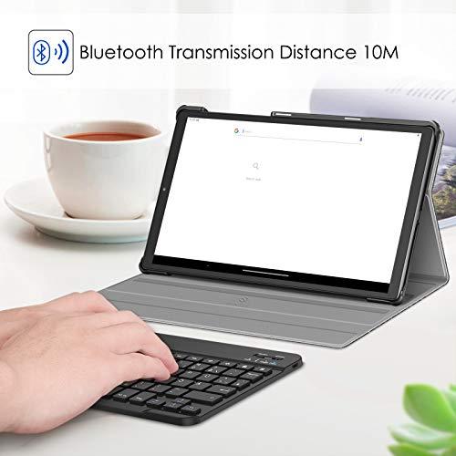 Fintie Tastatur Hülle für Lenovo Tab M10 FHD Plus/Smart Tab M10 FHD Plus 10.3 Zoll TB-X606, Slim Schutzhülle mit magnetisch Abnehmbarer Deutsches QWERTZ Bluetooth Keyboard, Dunkelgrau