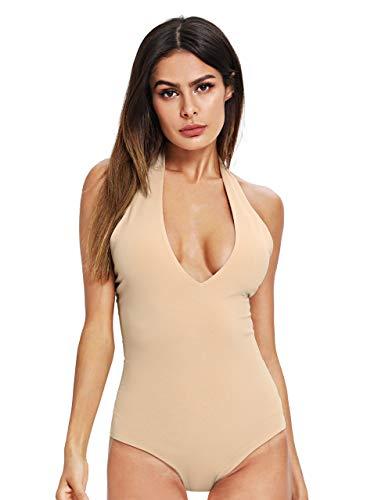 SweatyRocks Women's Sexy Deep V Sleeveless Backless Halter Leotard Bodysuit Romper Beige Large