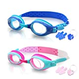 SYOSIN 2-Pack Swimming Goggles for Kids with Swimming Earplugs & Nose Clip Swim Goggles Flexible Nose Bridge Adjustable Strap Soft Silicone Frame Fog Resistant Clear Vision Comfort Fit for Children and Teens