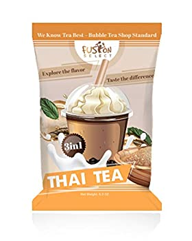 Fusion Select Bubble Tea Mix - Thai Tea 3-in-1 Drink Powder with Cream & Sugar - Instant Pre-Mixed Beverage for Hot or Cold Blends & Yummy Frappes - 6 oz Pack Made in Taiwan  Thai Tea
