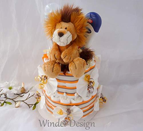 Windeltorte Löwe Mädchen Junge Geschenk, Babyparty, Nici Geburt oder Taufe, auf Wunsch mit Grußkärtchen