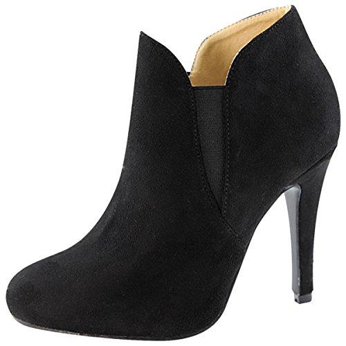 Bella Marie Women's Slip On Stiletto Heel Ankle Bootie (7 B(M) US, Black IMSU)