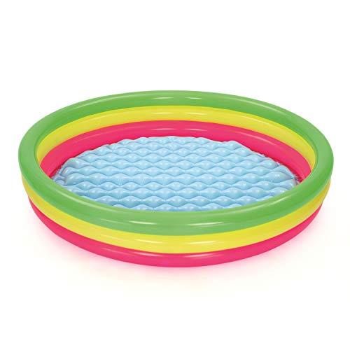 Bestway-60 Set Pool Best Way Piscina Summer A 3 Anelli Color con Fondo Gonfiabile Cm 152X30 125, Multicolore, 60 inch, 51103