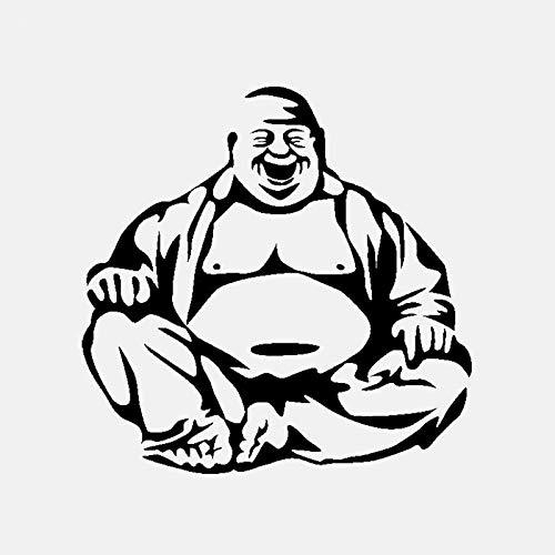 BLOUR Etiqueta engomada Divertida del Coche de Buda Que ríe Personalidad PVC Etiqueta engomada del Coche Ventana del Coche Adecuada para Varios Modelos Negro/Blanco, 17 * 17 CM