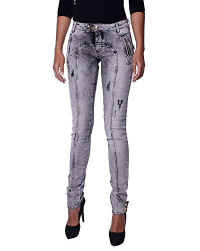 Pierre Balmain Damen Jeans Acid Washed Super Skinny (7M7000/28473/900) - grau, W28