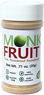 NAMANNA 100% Monk Fruit Sweetener - Zero Calorie, Zero Carb, Paleo Safe (25% Mogroside V, 20g, 400 Servings)